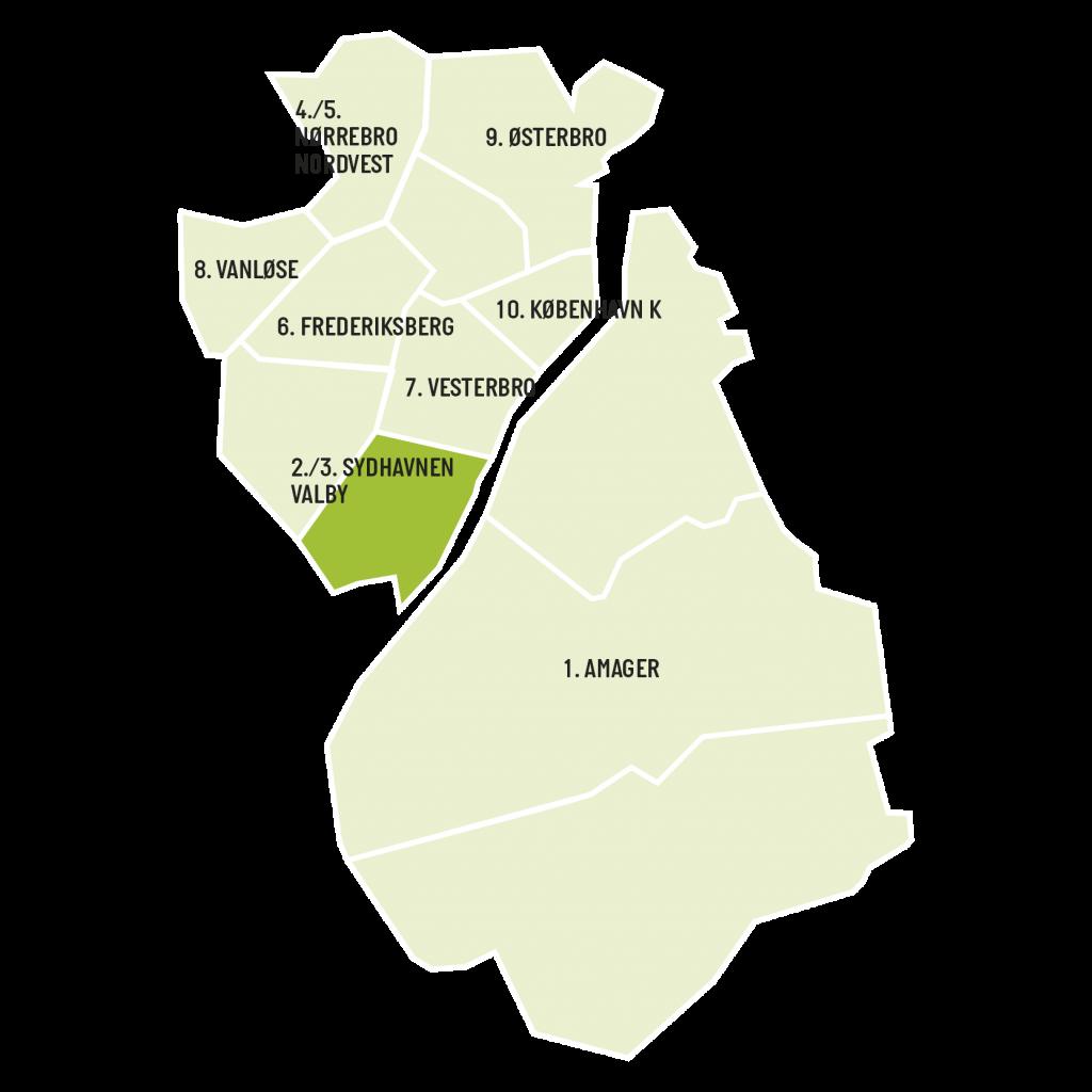 Områdekort for aviserne ValbyLIV og SydhavnenLIV
